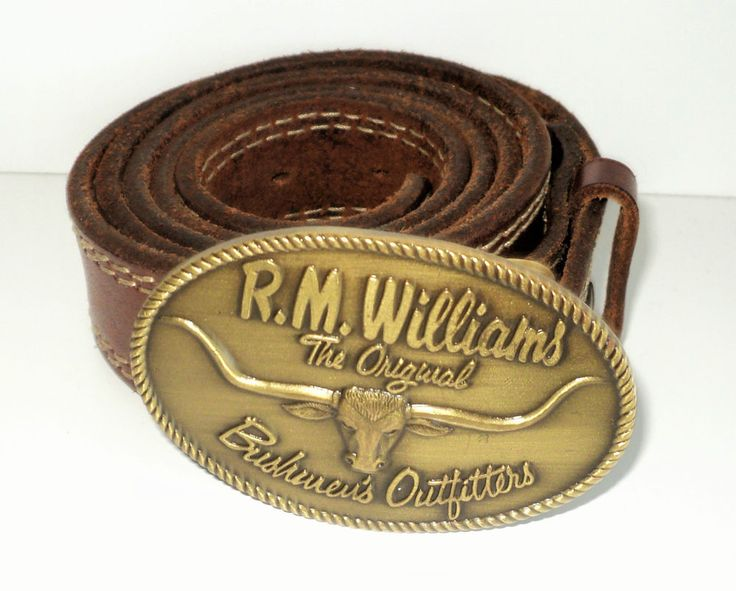 R.M. WILLIAMS Brown Leather Vintage Belt with Buckle ( W 36 ) #RMWILLIAMS