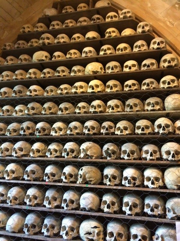 Skulls in the crypt of Hythe church - one of only two ossuaries left in England