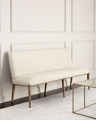 """Handcrafted banquette. Oak frame; linen upholstery. 72""""W x 24""""D x 36""""T. Hand-applied nailhead trim Imported. Boxed weight, approximately 57 lbs."""