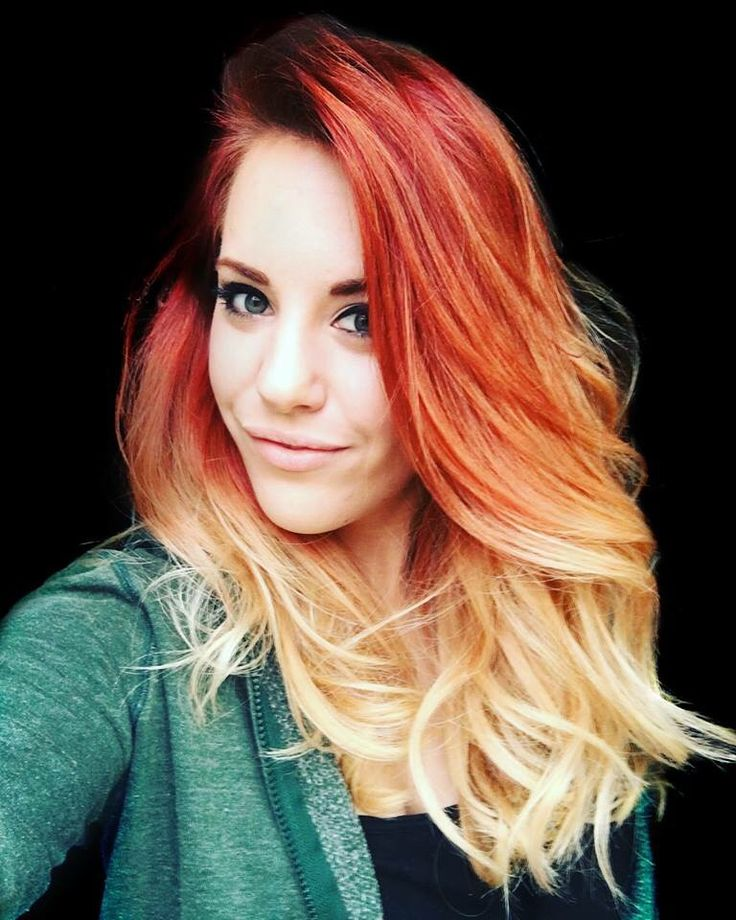 Fire ombre hair, red ombre, red to blonde