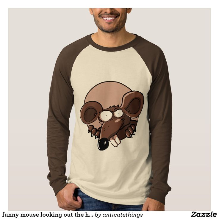 funny mouse looking out the hole cartoon #fashion #tshirtdesign #longsleeve #funny #funnyimages #cartoon #cartoontees #tees #funnyanimals #caricature #art #artist