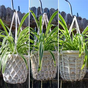Recycled 'plarn' plant hangers.... plastic bag recycling.... could do more elaborate macrame too