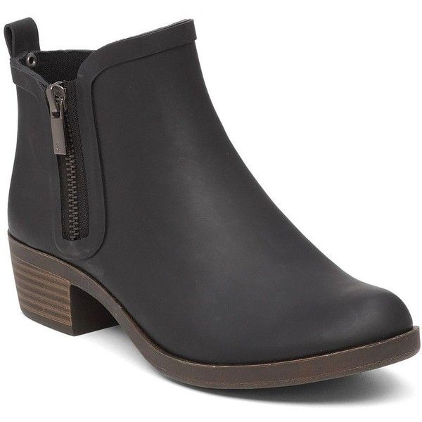 Lucky Brand Basel Rainboots ($79) ❤ liked on Polyvore featuring shoes, boots, black, wellies boots, black bootie boots, rubber ankle boots, short rubber boots and black rain boots