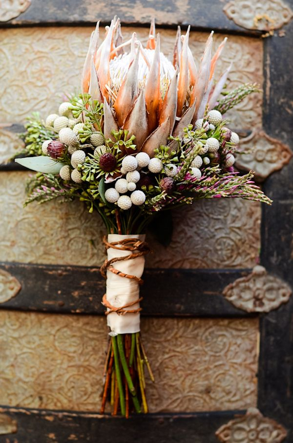 textured protea bouquet.  Photography: Ron B. Wilson. Flowers: Blossoms & Accents.
