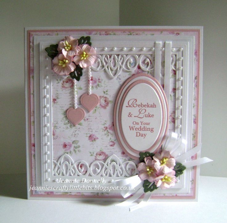 Wedding Card using Spellbinders Grand Squares, Sue Wilson Border & Leaves and Joy Crafts Hearts & Ovals...