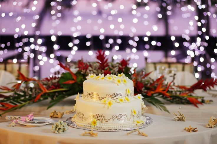 2 Tier Wedding Cake on decorated table.