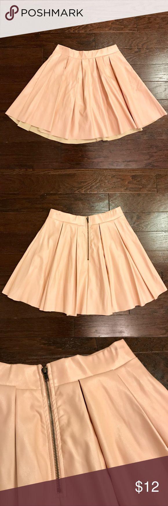Blush Pink Faux Leather Skater Skirt Faux leather skater skirt in blush pink with exposed back zipper Forever 21 Skirts Circle & Skater