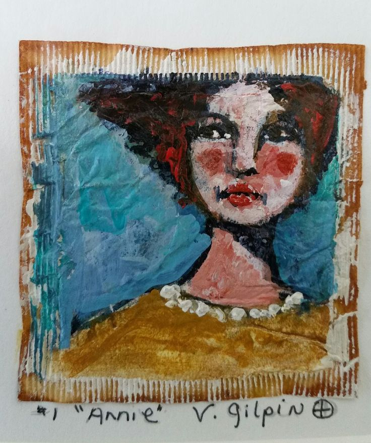 "Tea Bag Portrait Painting, ""Annie"", created by Victoria Gilpin"