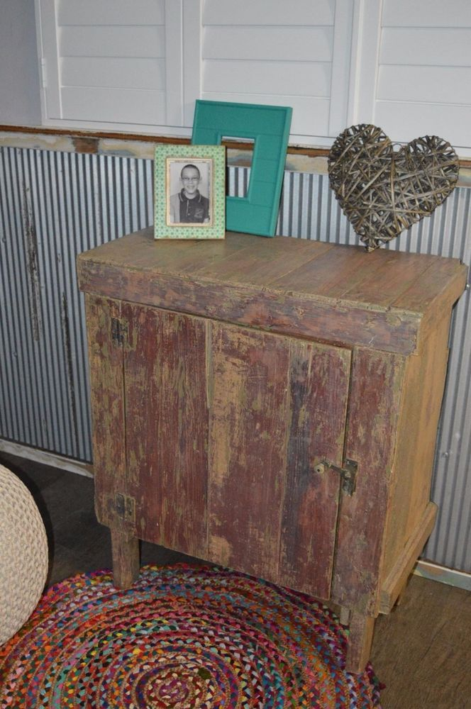 STUNNING ANTIQUE RARE Shabby Chic Kitchen Island Chest Cabinet ONE OF A KIND