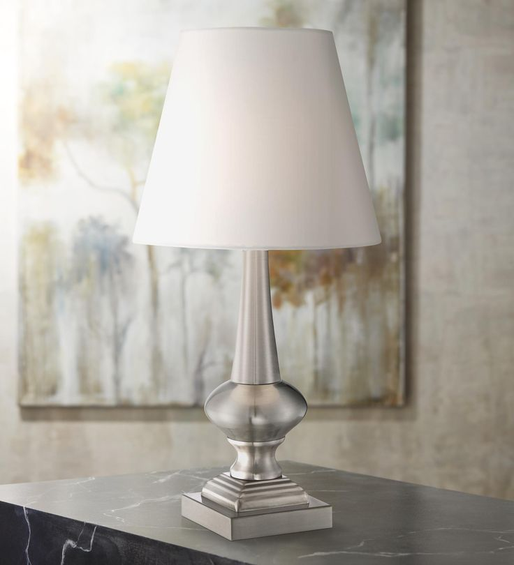 """Brooks Brushed Steel Finish 18 1/2"""" High Touch Table Lamp"""