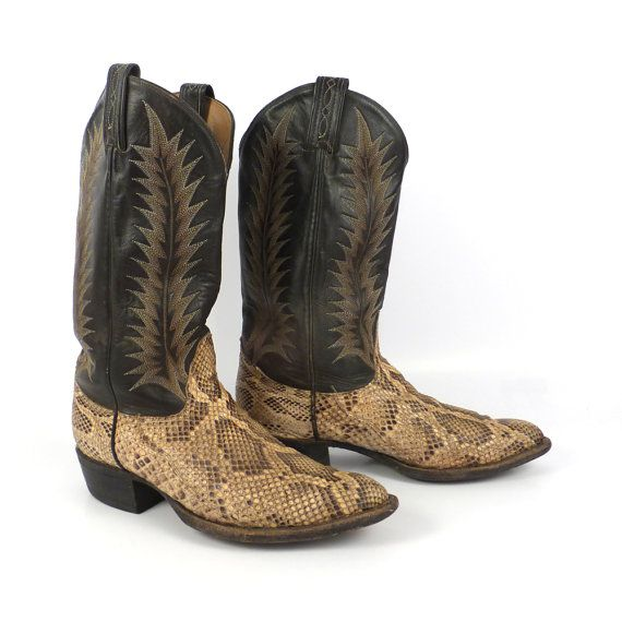 Snakeskin Cowboy Boots Vintage 1980s Men's by purevintageclothing