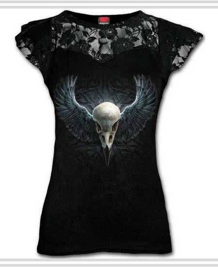 Camisetas con Calavera de Cuervo para Mujer #calavera #skull #camisetas #t-shirt #xtremonline #raven