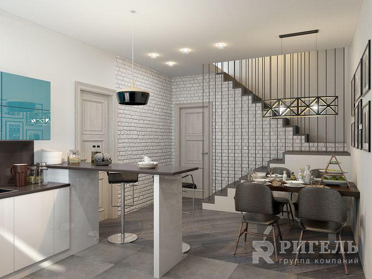 Кухня. Загородный дом с лофт элементами от #rigelgroup! Площадь: 100 м2  Наш…