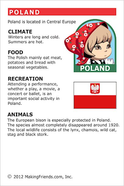 Poland Fact Card for your Girl Scout World Thinking Day or International celebration. Free printable available at MakingFriends.com. Fits perfectly in the World Thinking Passport, also available at MakingFriends.com