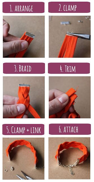 DIY. Braided Fabric Bracelet.