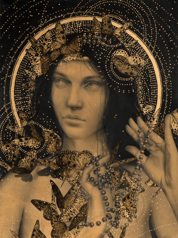 Alessandra Maria art graphite and gold leaf on coffee stained paper.