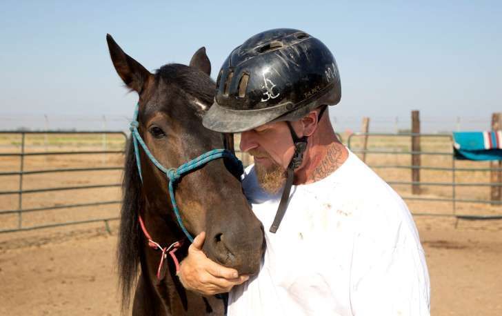 In this Sept. 9, 2016, photo, inmate Chris Culcasi spends a few moments with Zephyr, at the end of a training day at Wild Horse Program run at the Sacramento County Sheriff's Department's Rio Cosumnes Correctional Center in Elk Grove, Calif. Inmates spend 40 hours a week training mustangs provided by the federal Bureau of Land Management. (AP Photo/Rich Pedroncelli)