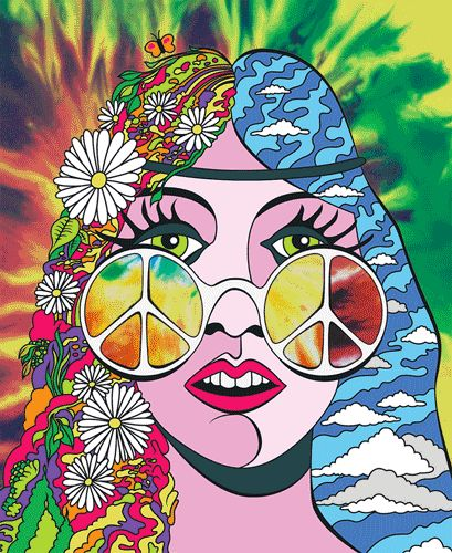 Psychedelic Girl colorful hippy trippy gif psychedelic 60s flashback