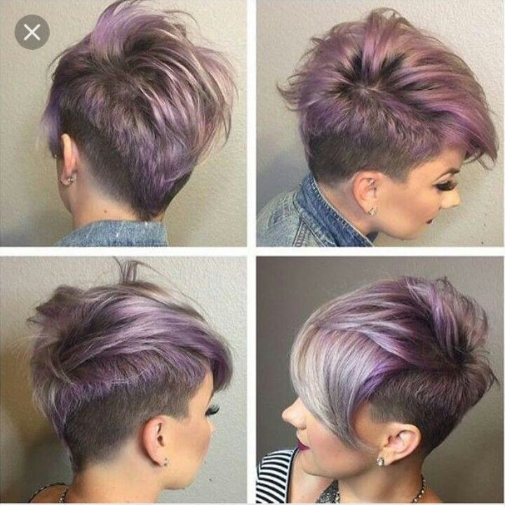 Purple short hair with undercut