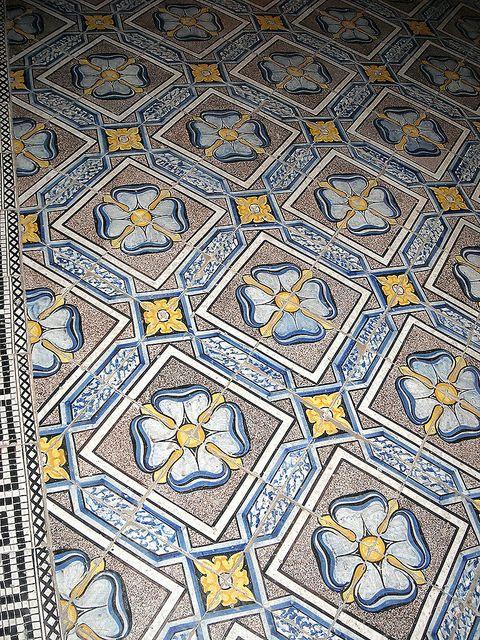 Ceramic floor 19th century - Church of Santa Teresa a Chiaia in Naples by * Karl *, via Flickr