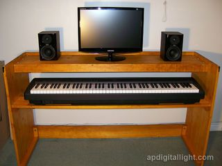 """This instructable describes how to build portable piano stand with two 12"""" x 60"""" shelves. It has enough room to accommodate full size 88 key..."""