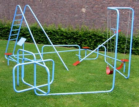 ...questions, questions, questions:...'WHERE'S THE SLIDE SURFACE'?! ;-).....a TURNSTILE as playground equipment?!....wouldn't 2 kids using the SWINGS simultaneously, be dangerous?!