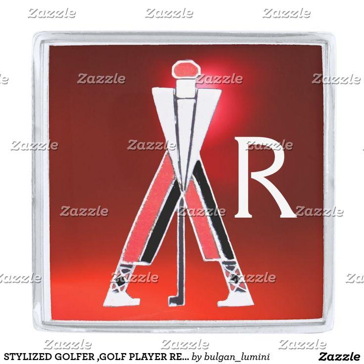 STYLIZED GOLFER ,GOLF PLAYER RED GEM MONOGRAM SILVER FINISH LAPEL PIN #golf #golfplayer #golfer #sport #fashion #sports #golfers