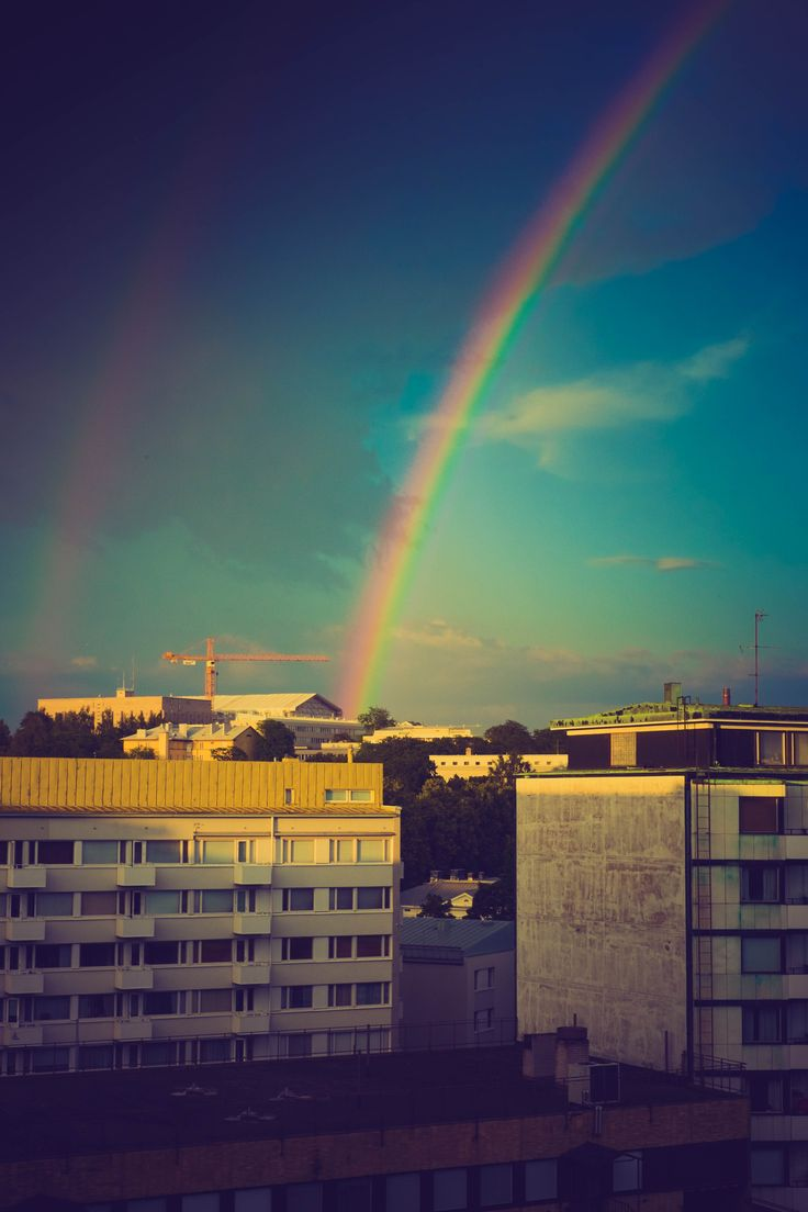 Rainbow above the city