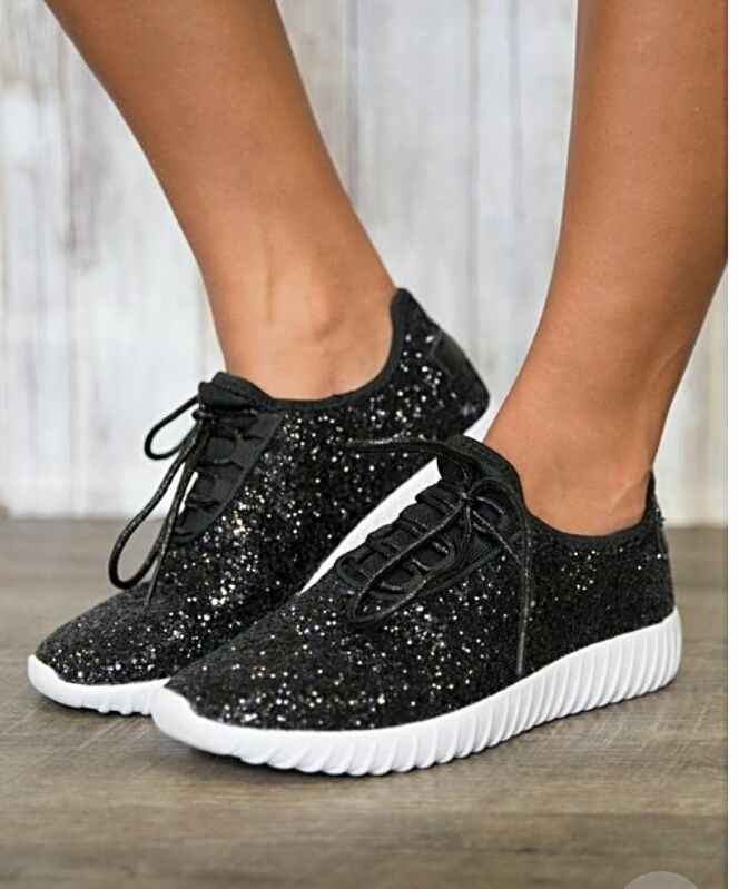 Black glittery sneakers. | Shop this product here: http://spreesy.com/Calicoutureboutique/7 | Shop all of our products at http://spreesy.com/Calicoutureboutique    | Pinterest selling powered by Spreesy.com