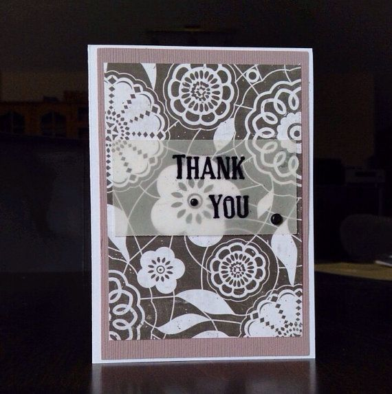 Hand made Thank You card. A1 size 2 available by missbrightest, $4.00