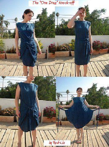 """The """"One Dress"""" (Convertible Dress) with patern making instructions - """"Robe Une pour toute"""" (une pièce de patron, portable en toutes situations) instructions pour faire le patron"""