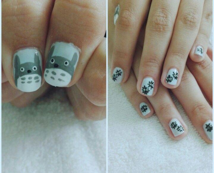 #nails #nail #naiart #naildesign #cute #pretty #japanese #anime #totoro #totoronails
