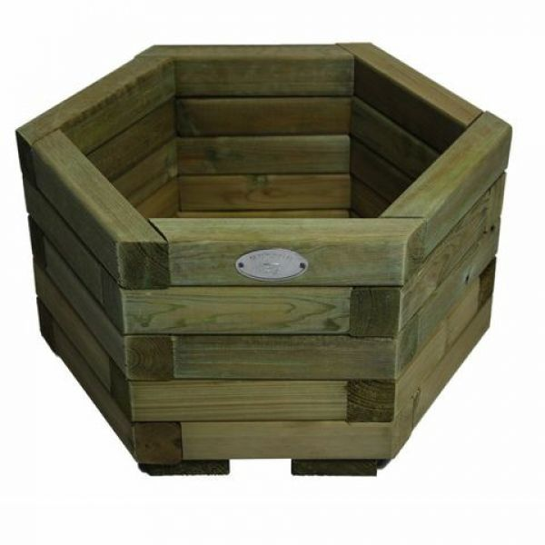 hexagon planter | Small Hexagonal Wooden Garden Planter Tanalised Timber UK Made (39cm x ...