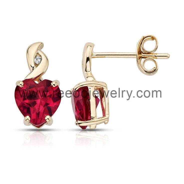 925 silver earring with AAA red CZ stone www.reeoojewelry.com