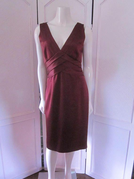 KAY UNGER Deep Burgundy Silk Sleeveless Sheath Size 14