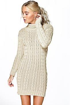 Lottie Cable Knit Jumper Dress