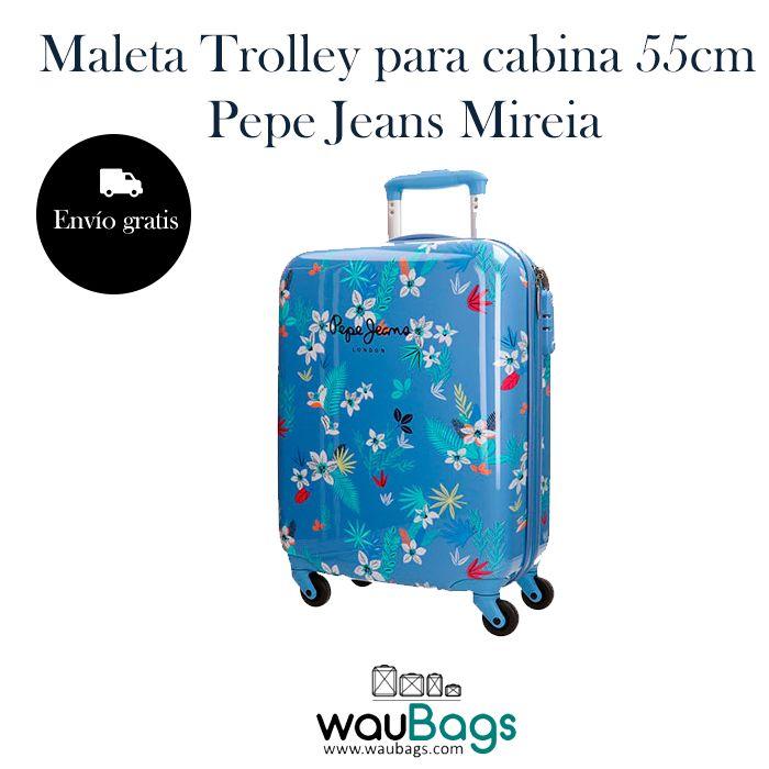 """Nos encanta la Maleta Trolley para cabina 55cm. Pepe Jeans de la nueva colección """"Mireia"""".   Totalmente forrada en su interior, dispone de dos compartimentos separados por cremallera, varios bolsillos y además, trae una bolsa de tela especial para zapatos!!  #pepejeans #nuevacoleccion #maleta #trolley #cabina #viajes"""