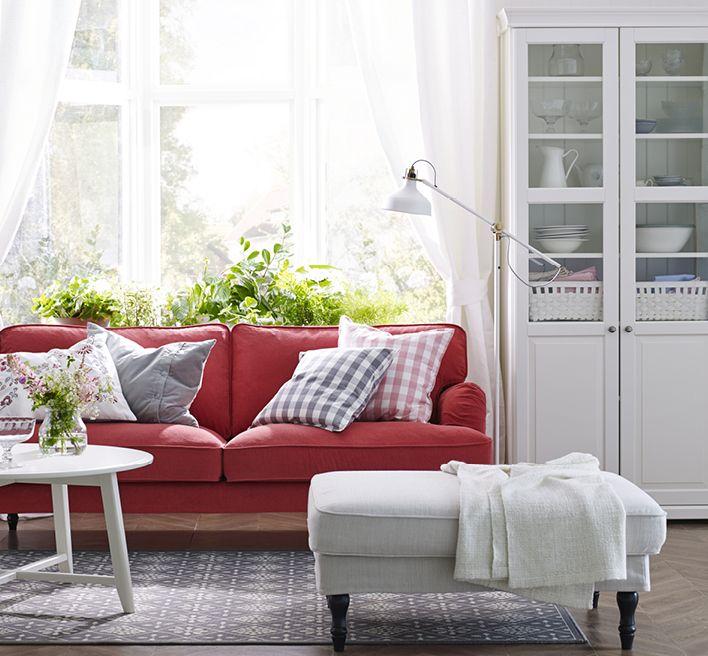 IKEA STOCKSUND 3-sits soffa med LJUNGEN röd klädsel.