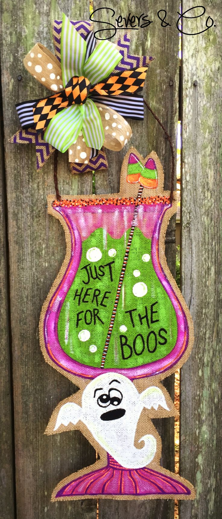 Brand new for Halloween 2016!!  Just Here for the Boos burlap door hanger by Severs & Co.  $40+shipping.