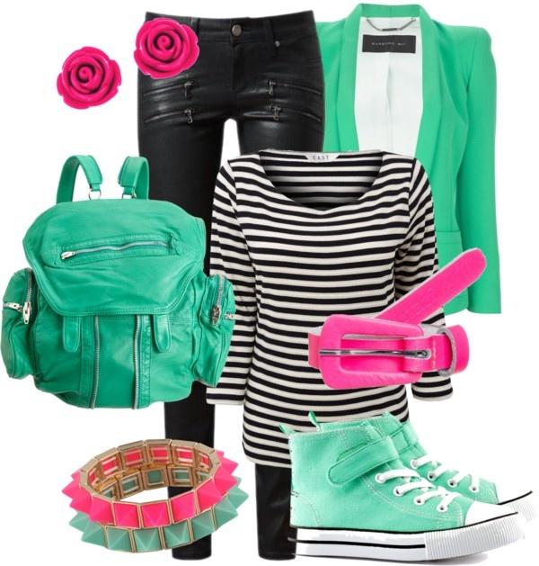 """Pink & Mint"" by akjdmt on Polyvore"