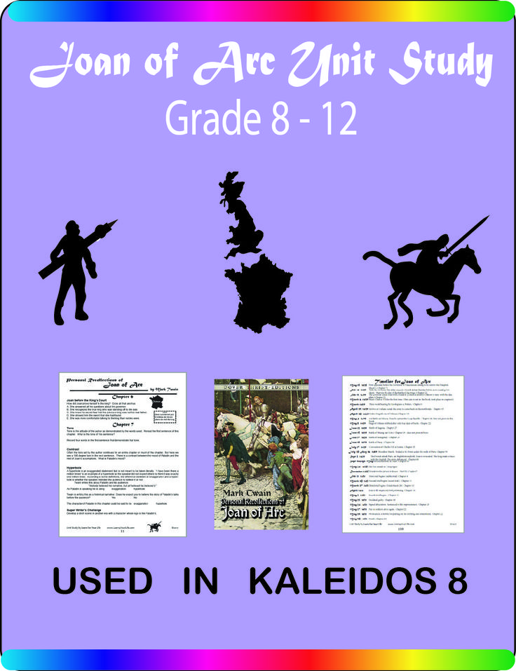 The Joan of Arc Unit Study is 108 pages of activities for middle school and high school students.  It includes a timeline, chapter-by-chapter activities, discussion questions, vocabulary words, historical information and much more.