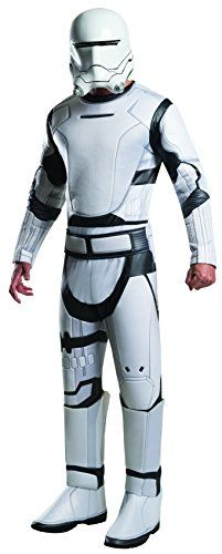 Officially licensed Star Wars Episode VII: The Force Awakens deluxe Flametrooper costume Available in sizes standard (42 to 44-inch jacket size, 34 to 36-inch waist) and x-large (44 to 46-inch jacket size, 36 to 40-inch waist) Deluxe jumpsuit features molded foam armor detail and comes with a 2-piece helmet and belt