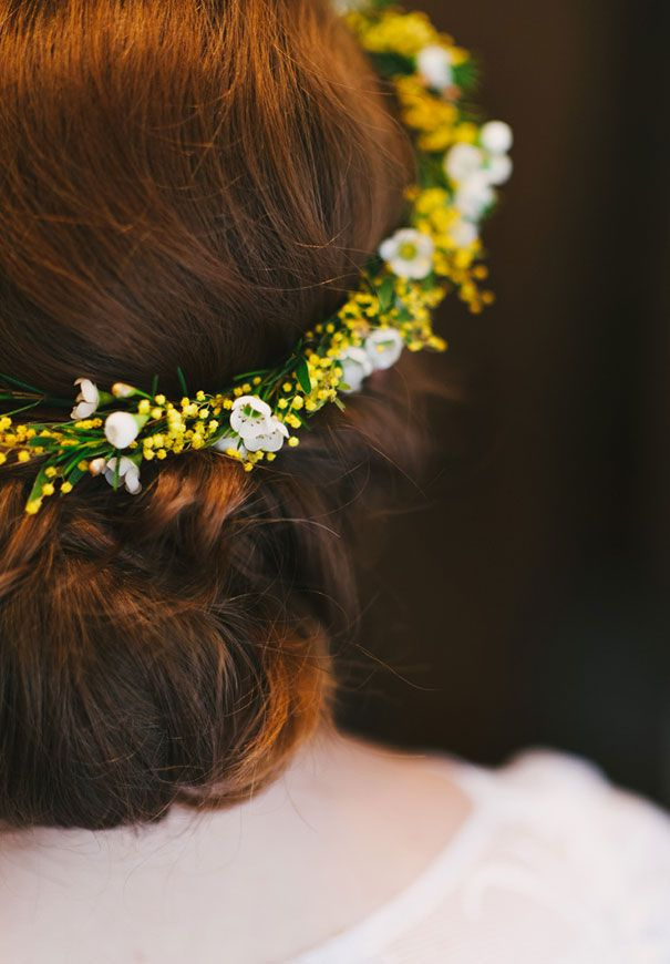 Sweet yellow whit flower crown KATHRYN   SAM