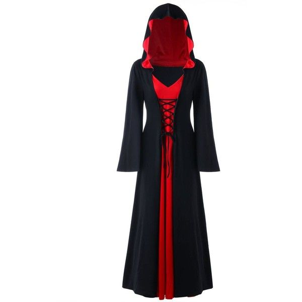 Halloween Plus Size Lace Up Hooded Maxi Dress ($26) ❤ liked on Polyvore featuring costumes, white halloween costumes, plus size costumes, white costumes, womens plus costumes and women's plus size halloween costumes