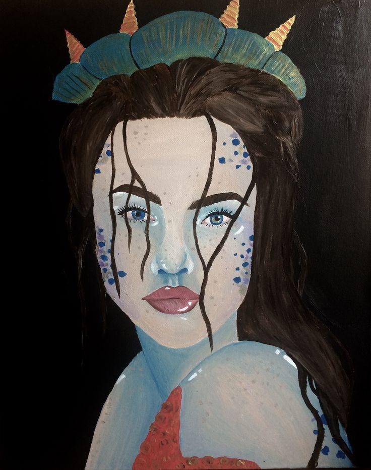 La siren, acrylic on canvas 16x20 #mermaid #painting #art #drawing #acrylic #folklore #mythology