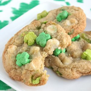 These Lucky Charms Treats Are Magically Delicious:What started as a mixture of Cheerios and chopped up circus peanuts — no joke! — in 1964 is now a modern, monochromatic treat for a limited time only: To celebrate their 50th birthday, Lucky Charms is going all green (marshmallows, that is). Our Test Kitchen experts ripped opened a few boxes to create these fun, St. Patrick's Day goodies.