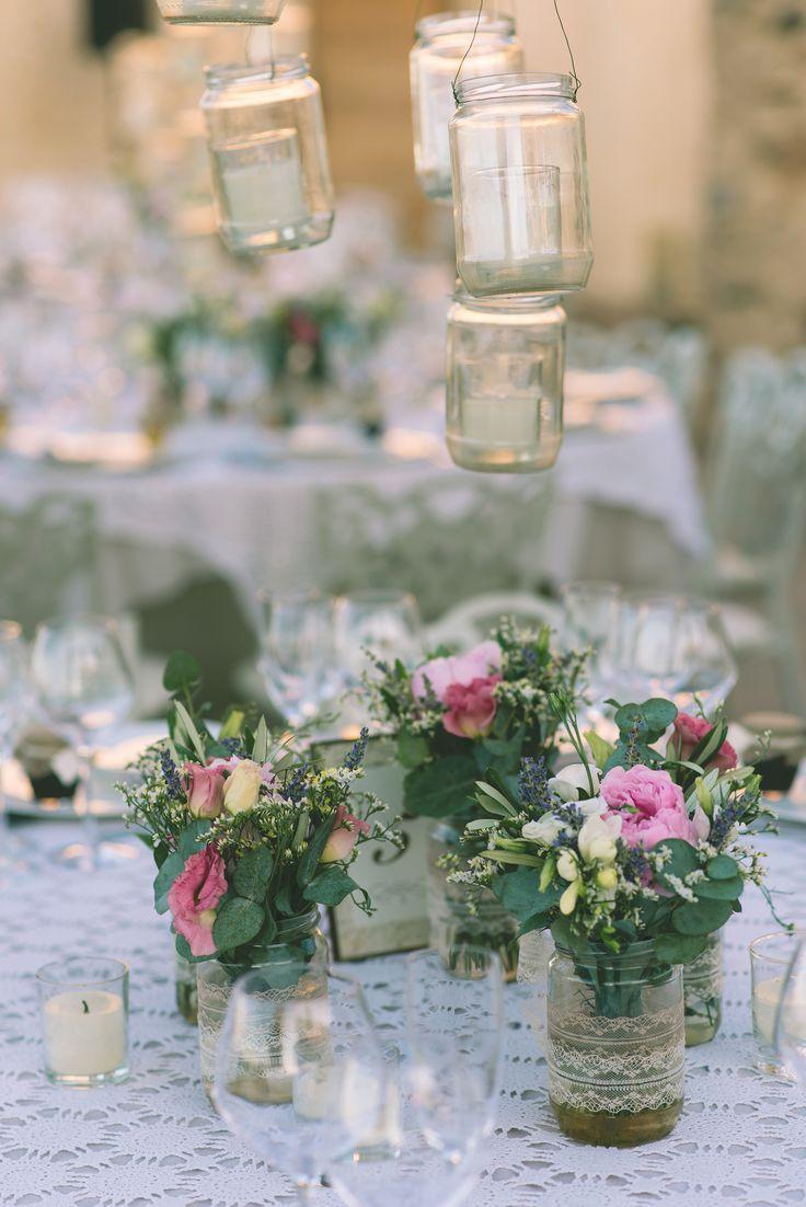 Decoration!  #jars #flowers #burlap #romantic #lace #inspiration #decoration #weddingplanner #dreamsinstyle
