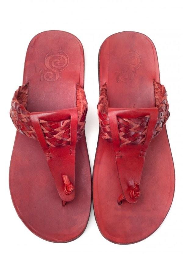 Zaffaella Shoes Gianni Red Italian Mens Leather Sandals