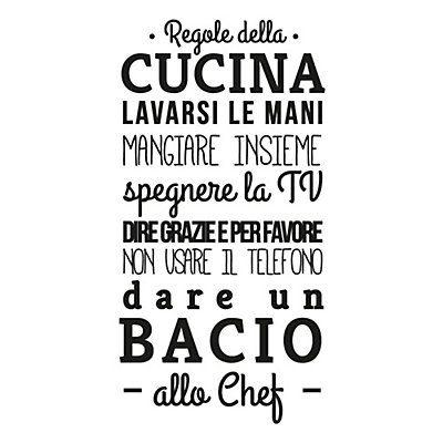 "Wallsticker ""Regole della Cucina"" nero 45 x 95 cm"
