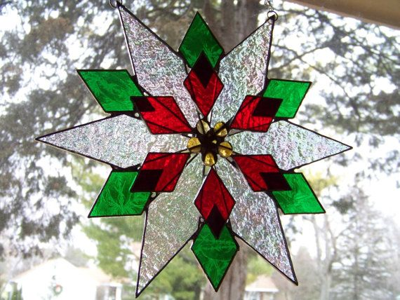 Poinsettia - Holiday Stained Glass Suncatcher by Glitz & Grandeur via Etsy.